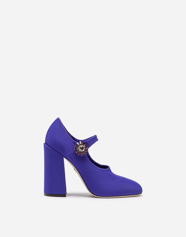 Dolce & Gabbana STRETCH LYCRA MARY JANES WITH BEJEWELED BUTTON