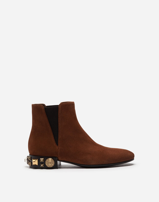 CHELSEA ANKLE BOOTS IN CASHMERE SPLIT LEATHER WITH EMBROIDERED HEEL