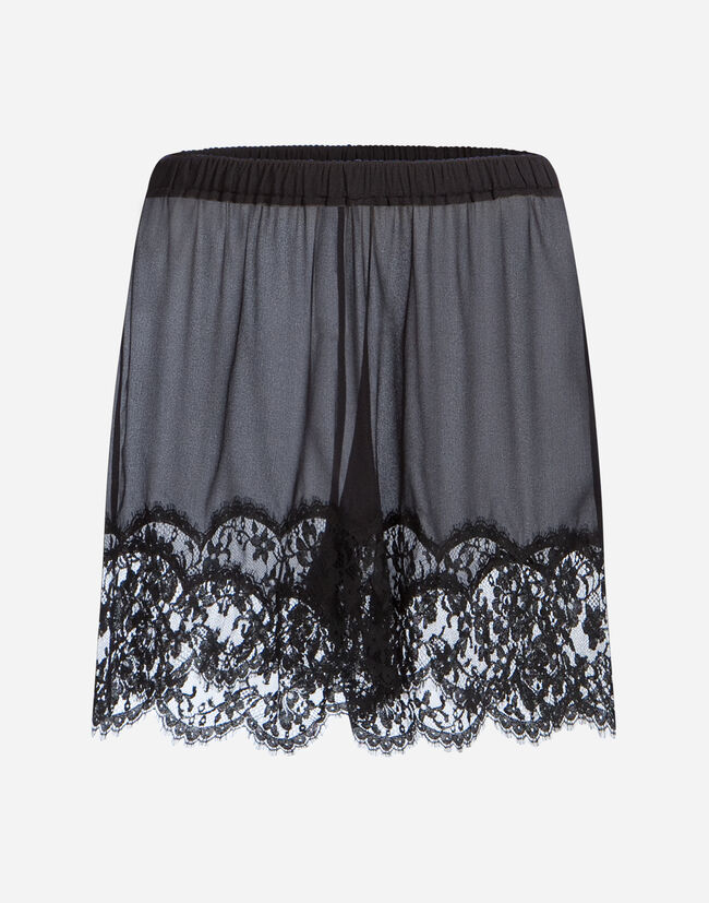 SILK LINGERIE SHORTS WITH LACE TRIM