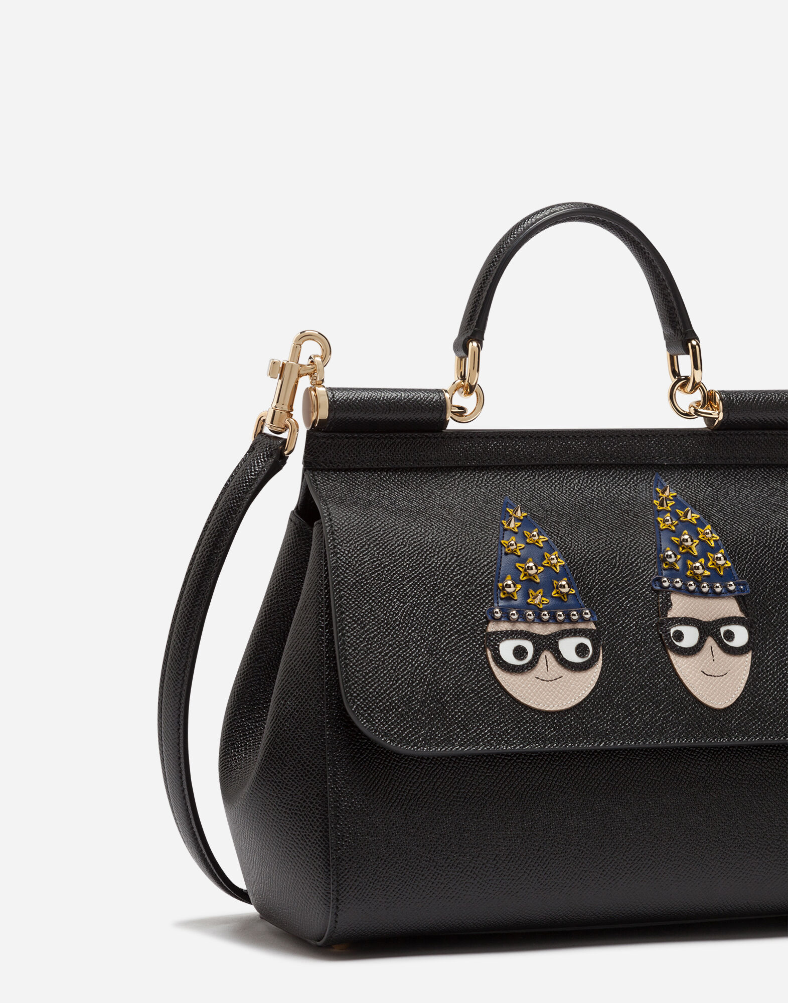 6d2cb5769b3 Dolce   Gabbana Medium Sicily Bag In Dauphine Calfskin With Patches Of The  Designers In Black