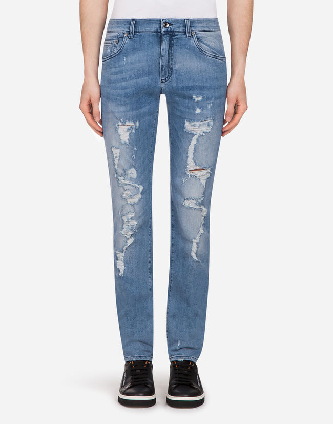 CLASSIC FIT STRETCH JEANS WITH PATCHES