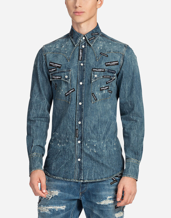 DENIM SHIRT WITH PATCHES