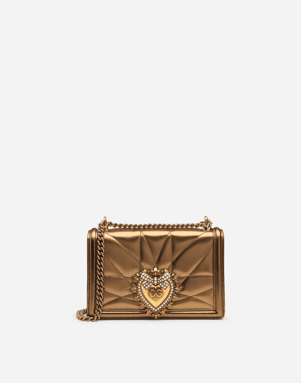 Dolce Gabbana Medium Devotion Bag In Quilted Na MordorÉ