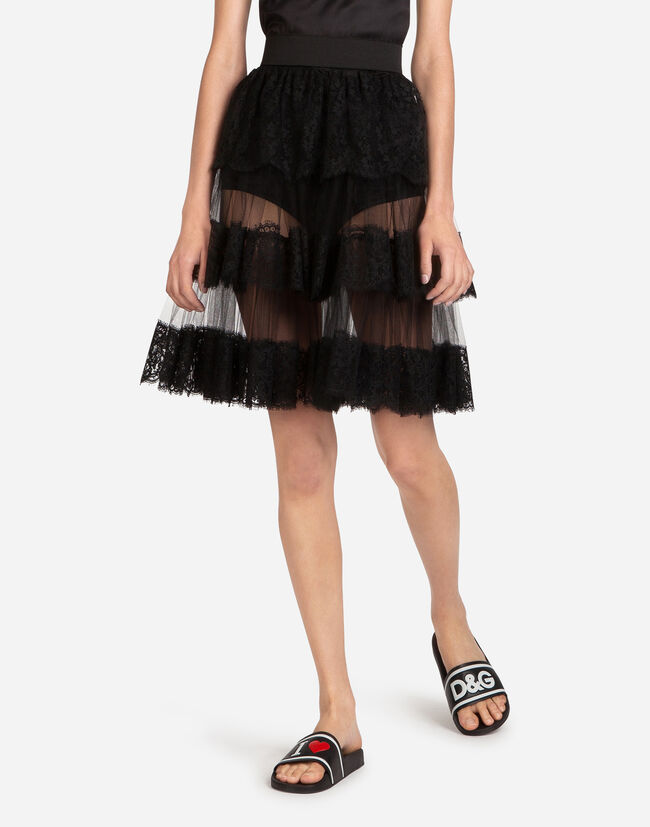 FLARED SKIRT WITH TULLE FLOUNCES