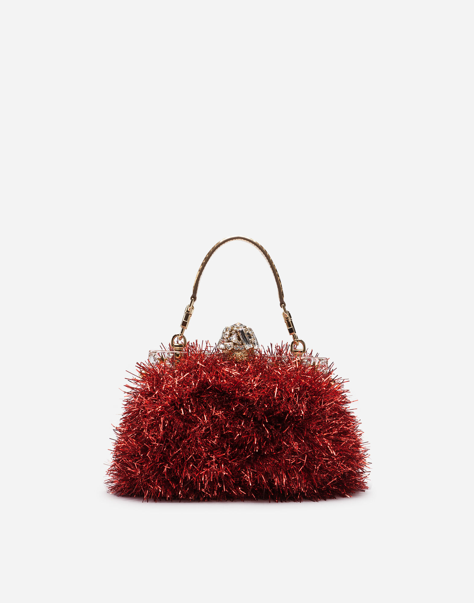 Satin Vanda Handbag With Embroidery in Red