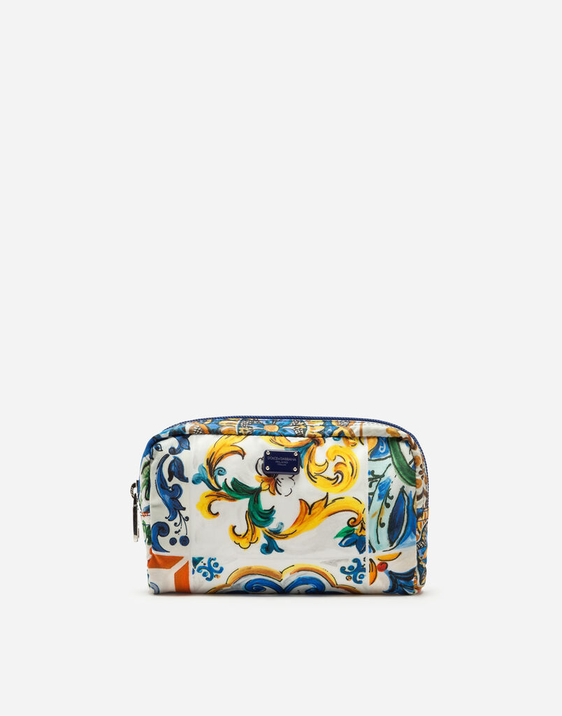 MAJOLICA-PRINT NYLON MAKE-UP BAG