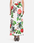 LONG SKIRT IN PRINTED COTTON DRILL