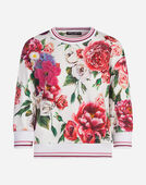 PRINTED COTTON SWEATSHIRT WITH EMBROIDERY