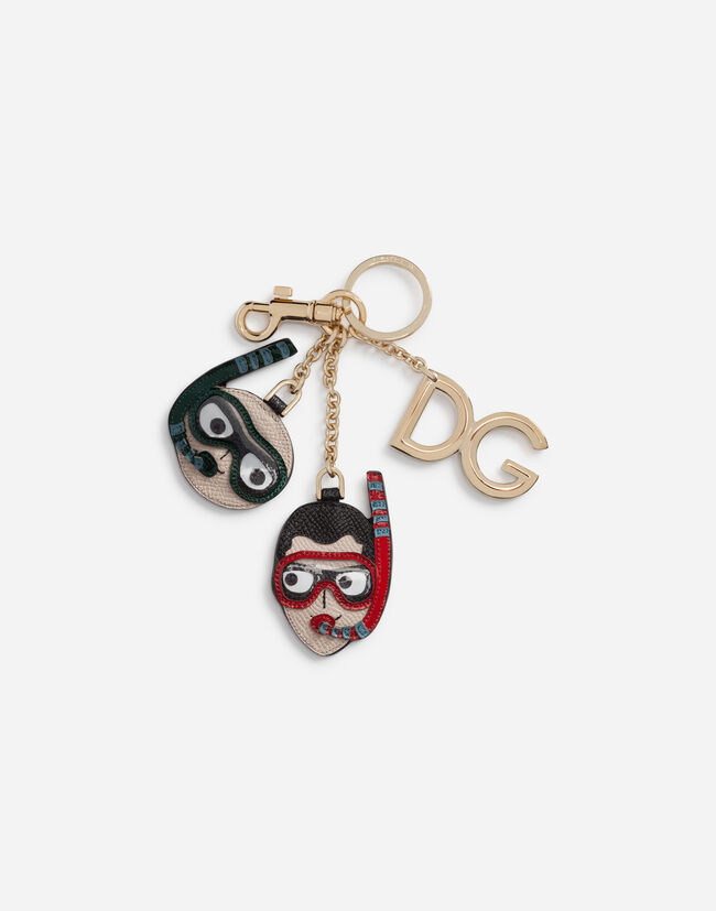 Dolce&Gabbana DAUPHINE CALFSKIN KEYCHAIN WITH PATCHES OF THE DESIGNERS