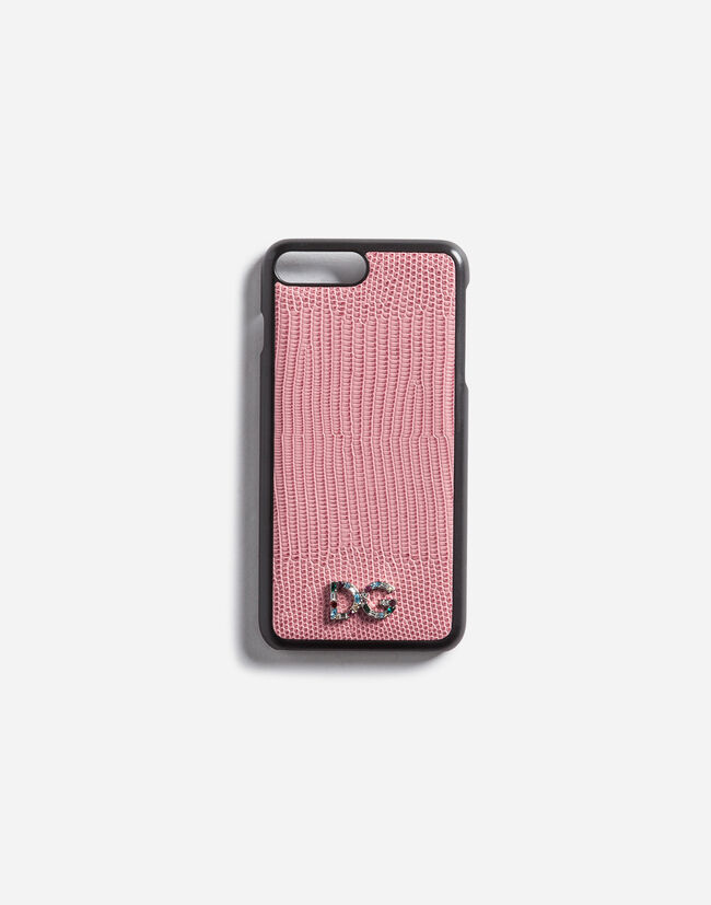 Dolce&Gabbana IPHONE 7 PLUS COVER WITH LEATHER DETAIL AND LOGO PATCH