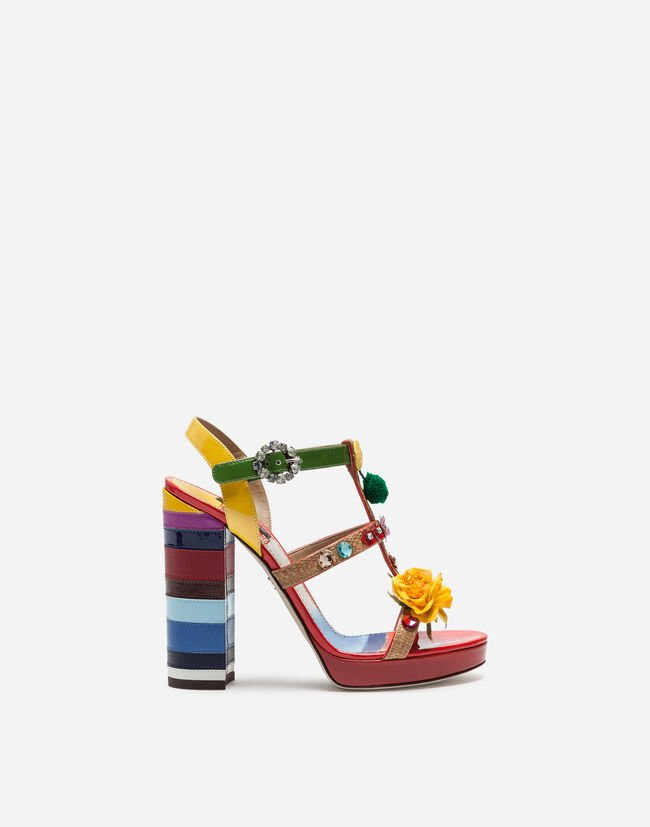 Dolce&Gabbana WEDGE SANDALS IN A MIX OF MATERIALS WITH EMBROIDERY