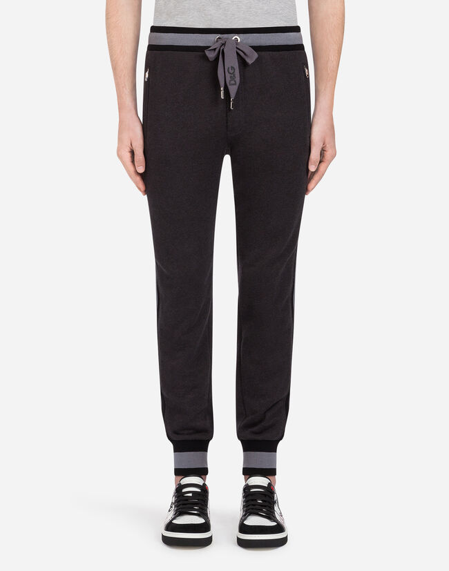Dolce & Gabbana COTTON JOGGING PANTS WITH BRANDED SIDE BANDS