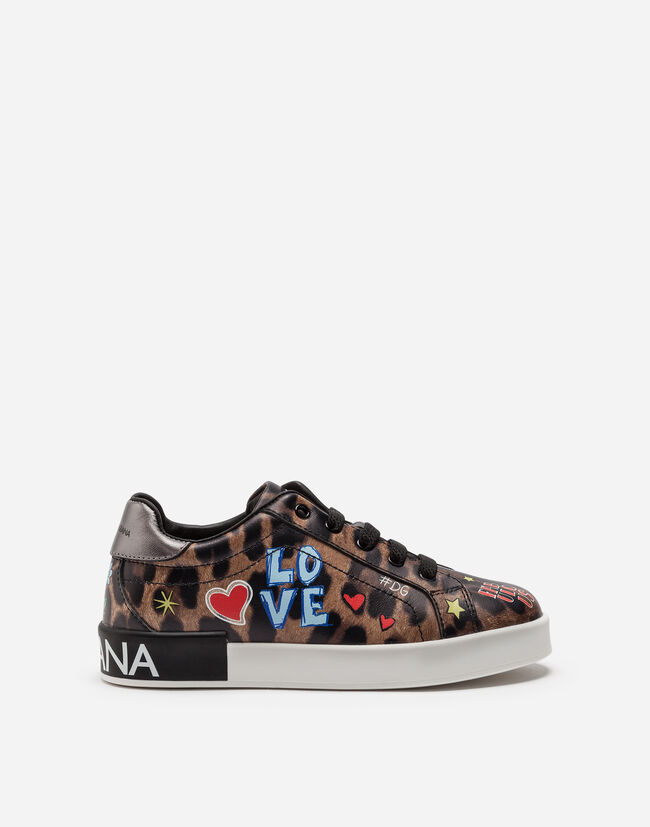 LEATHER SNEAKERS WITH PRINT