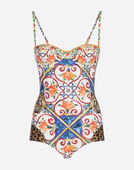 PRINTED BALCONETTE SWIMSUIT