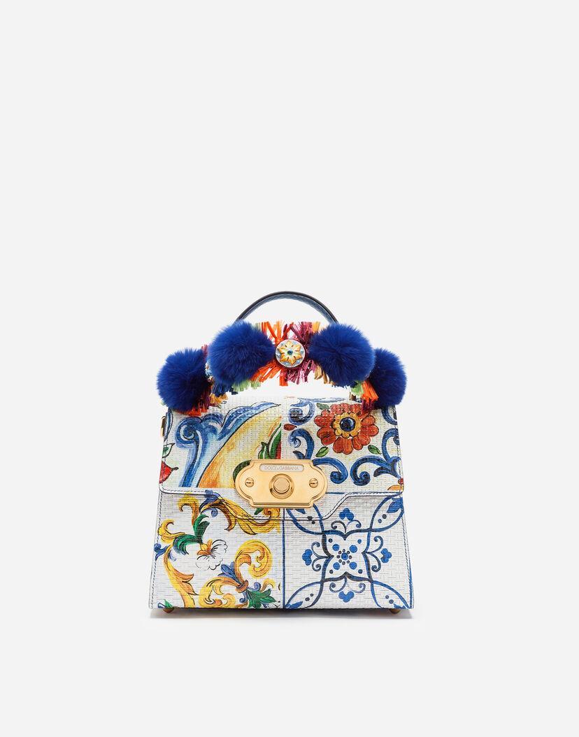 gran inventario 2019 real calidad real Bolsos de Mano de Mujer | Dolce&Gabbana - BOLSO DE MANO WELCOME DE BECERRO  CON ESTAMPADO MAYÓLICA