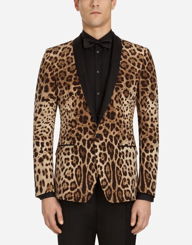 012257b0761a1b Vestes et Gilets Homme   Dolce Gabbana - VESTE DE SMOKING EN SOIE IMPRIMÉ  LÉOPARD
