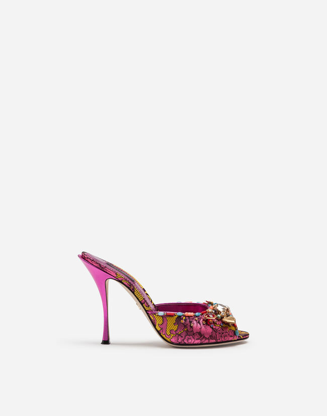 d85ede0af12f4 Women's Sandals and Wedges | Dolce&Gabbana - ORNAMENTAL FLORAL JACQUARD  MULES WITH EMBROIDERY