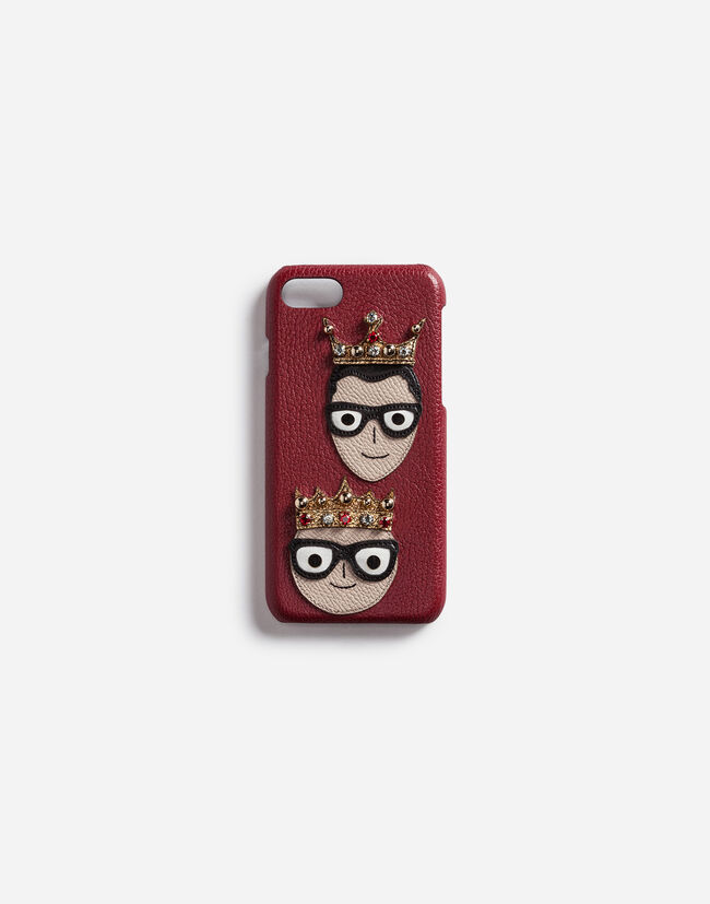 Dolce&Gabbana IPHONE 7 COVER WITH PATCHES OF THE DESIGNERS