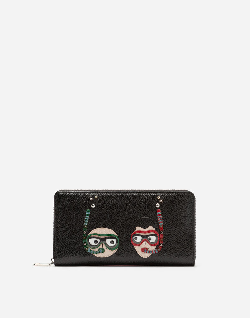 Dolce&Gabbana ZIP-AROUND DAUPHINE CALFSKIN WALLET WITH DIVER-STYLE PATCHES OF THE DESIGNERS
