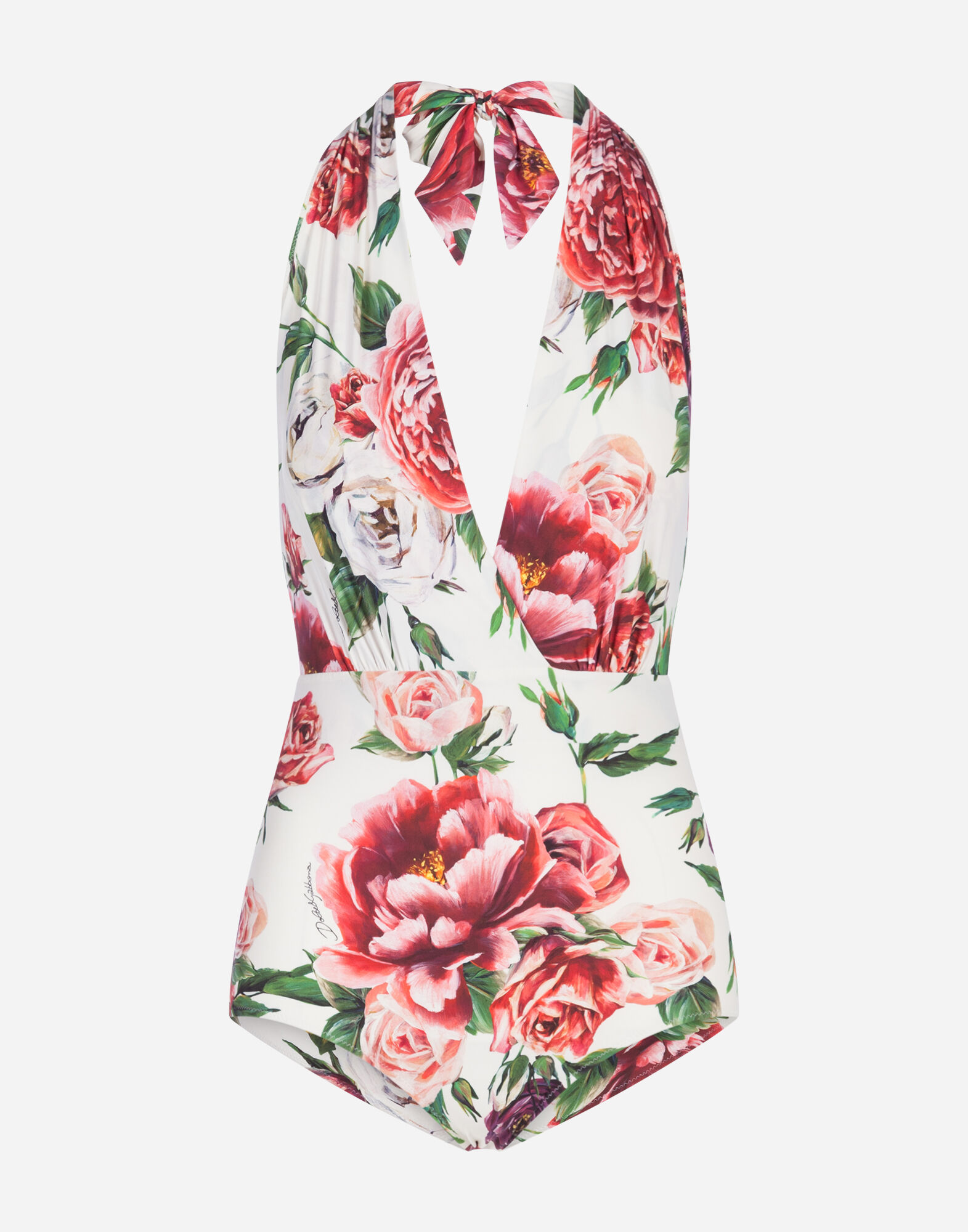 Dolce & Gabbana Rose And Peony-Print Halterneck Swimsuit In Pink