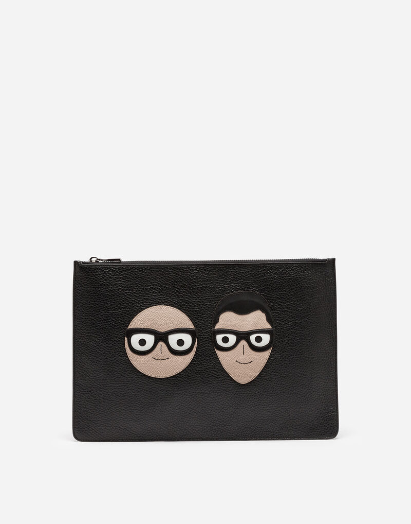 LEATHER POUCH WITH PATCHES OF THE DESIGNERS