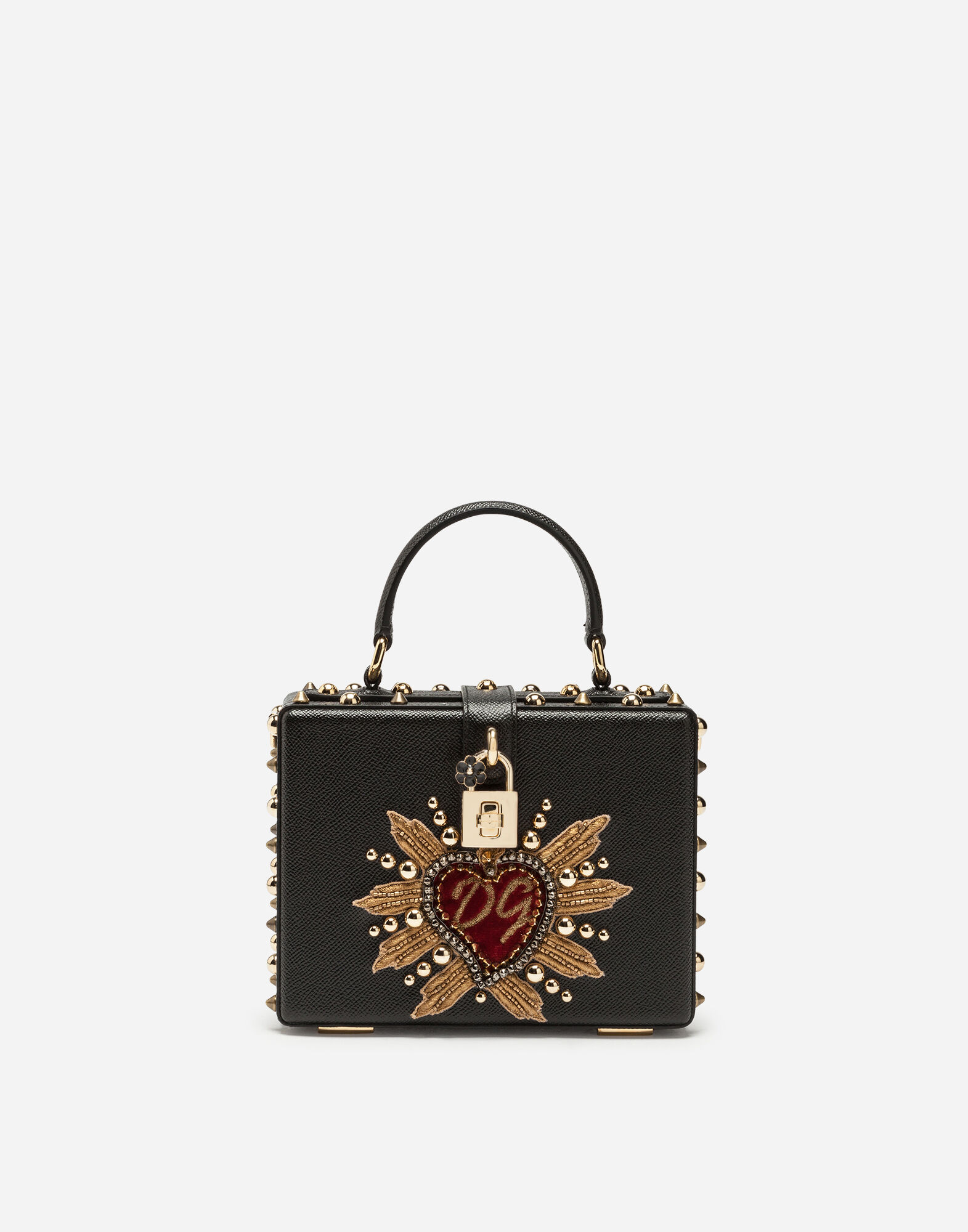 Dolce Box Bag In Dauphine Calfskin With Patch Heart in Black