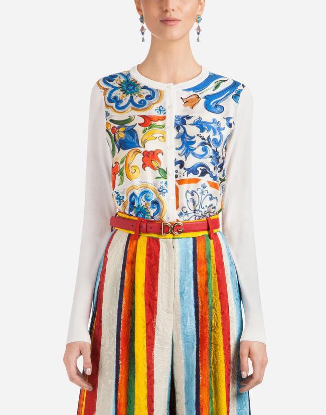 Dolce&Gabbana SILK CARDIGAN WITH SCARF INSERT