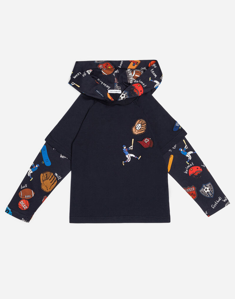 PRINTED COTTON T-SHIRT WITH HOOD