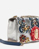 LUCIA SHOULDER BAG IN LAMINATED LEATHER WITH APPLIQUÉS