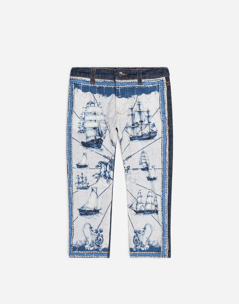 STRETCH JEANS WITH PRINTED INSERT