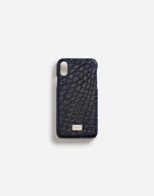 Dolce & Gabbana IPHONE X COVER WITH DETAILS IN CROCODILE