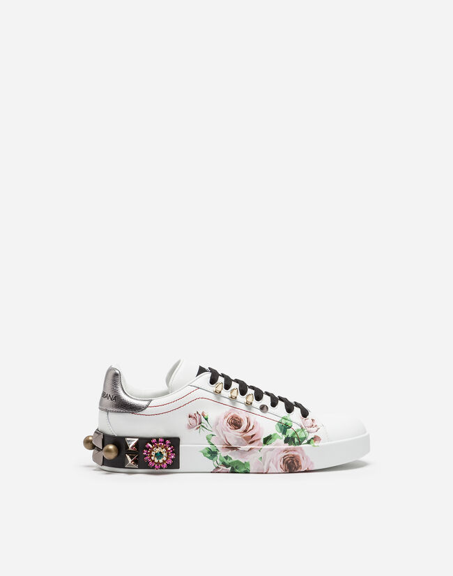 PORTOFINO SNEAKERS IN PRINTED CALFSKIN WITH APPLIQUÉS