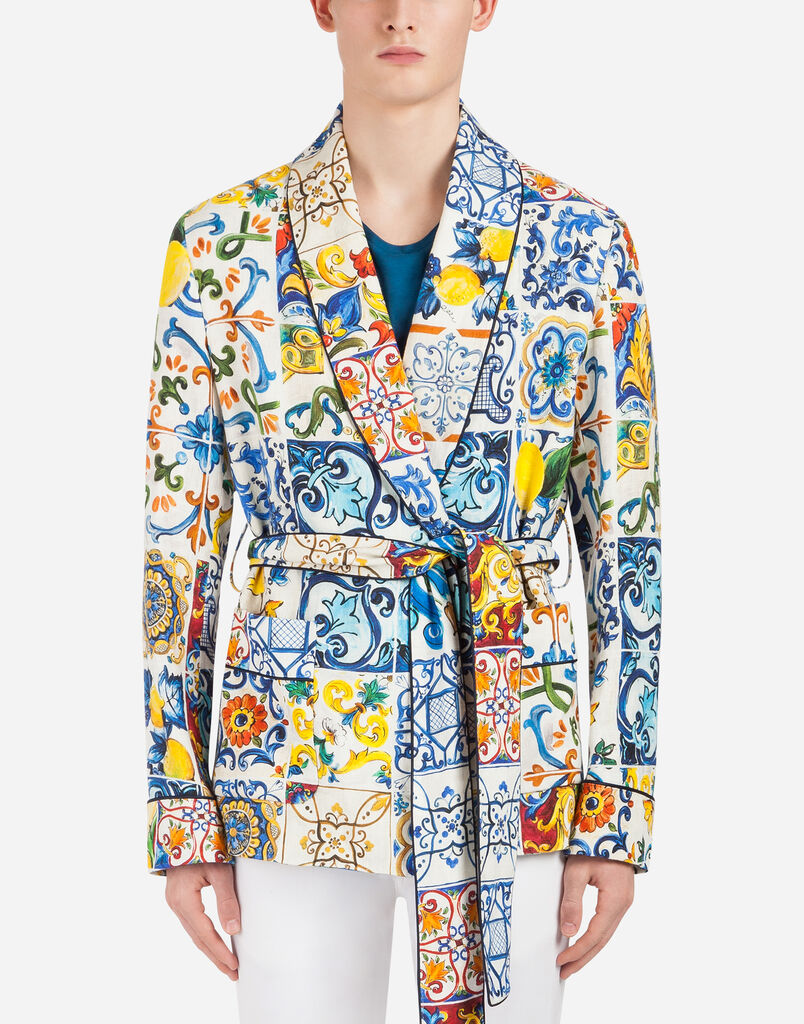 PRINTED LINEN JACKET/ROBE