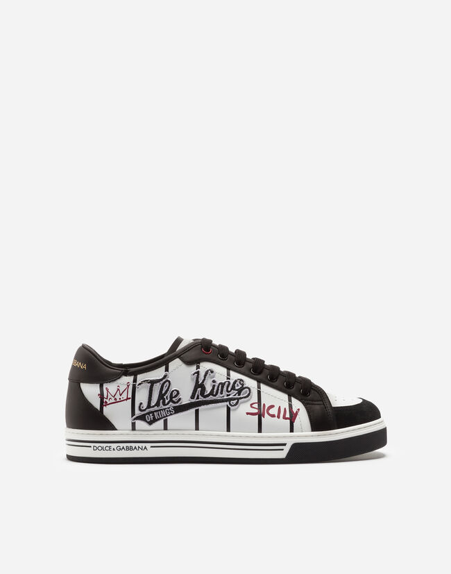 Dolce&Gabbana ROMA SNEAKERS IN PRINTED AND EMBROIDERED CALFSKIN