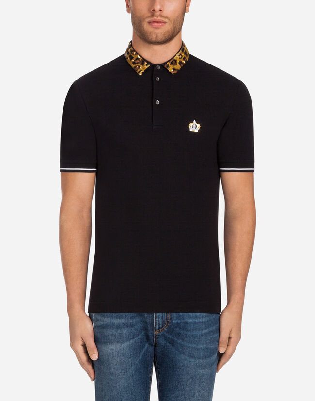 COTTON POLO SHIRT WITH EMBROIDERED COLLAR
