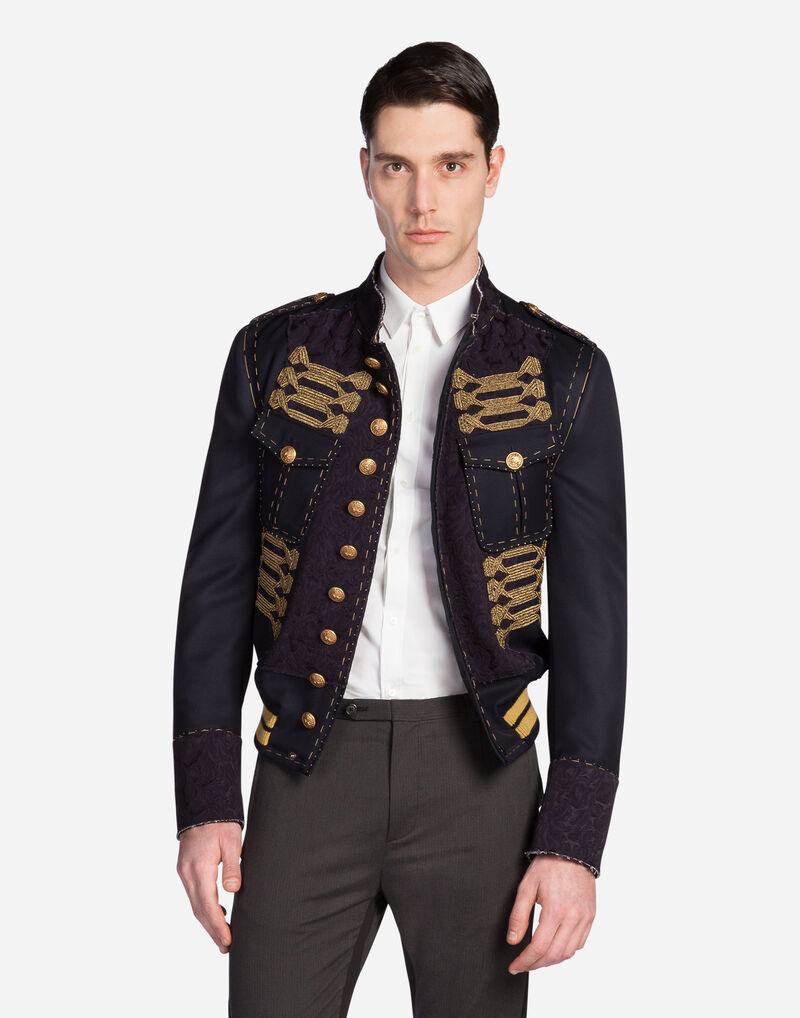 WOOL BOMBER JACKET WITH TOPSTITCHING
