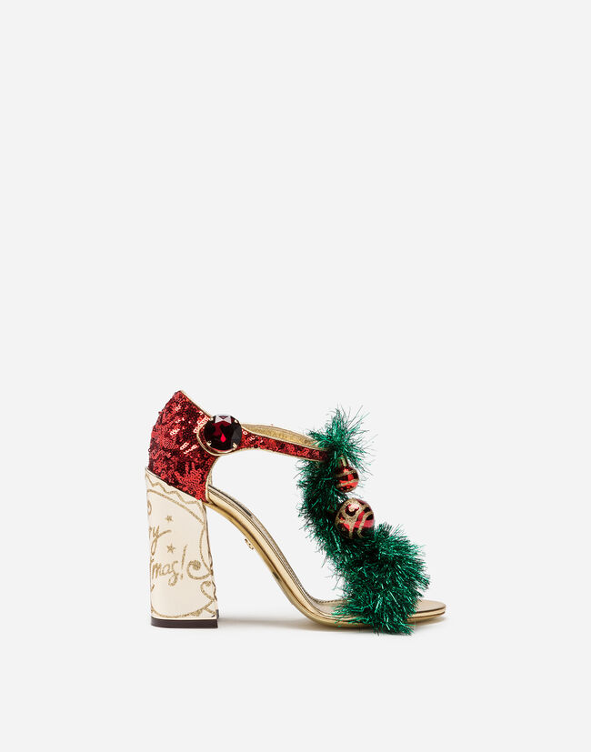 Dolce & Gabbana MIXED MATERIAL SANDALS WITH EMBROIDERY