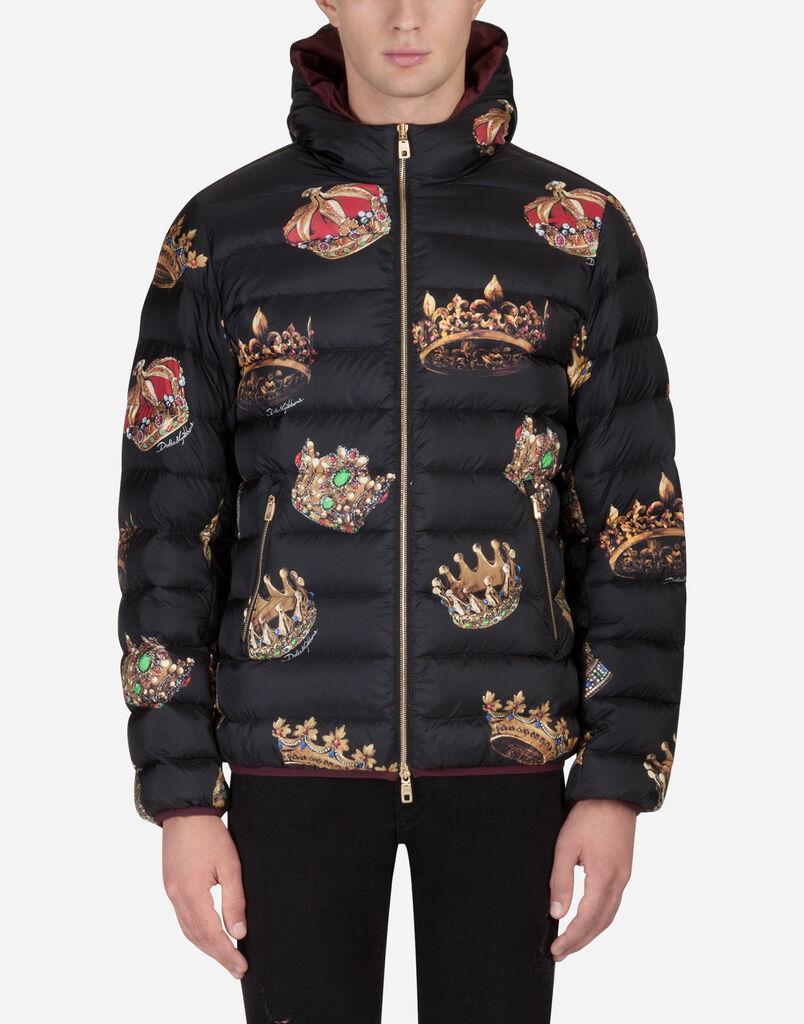 Dolce   Gabbana BLOUSON REMBOURRÉ À CAPUCHE EN NYLON IMPRIMÉ c9dcd1d4bade