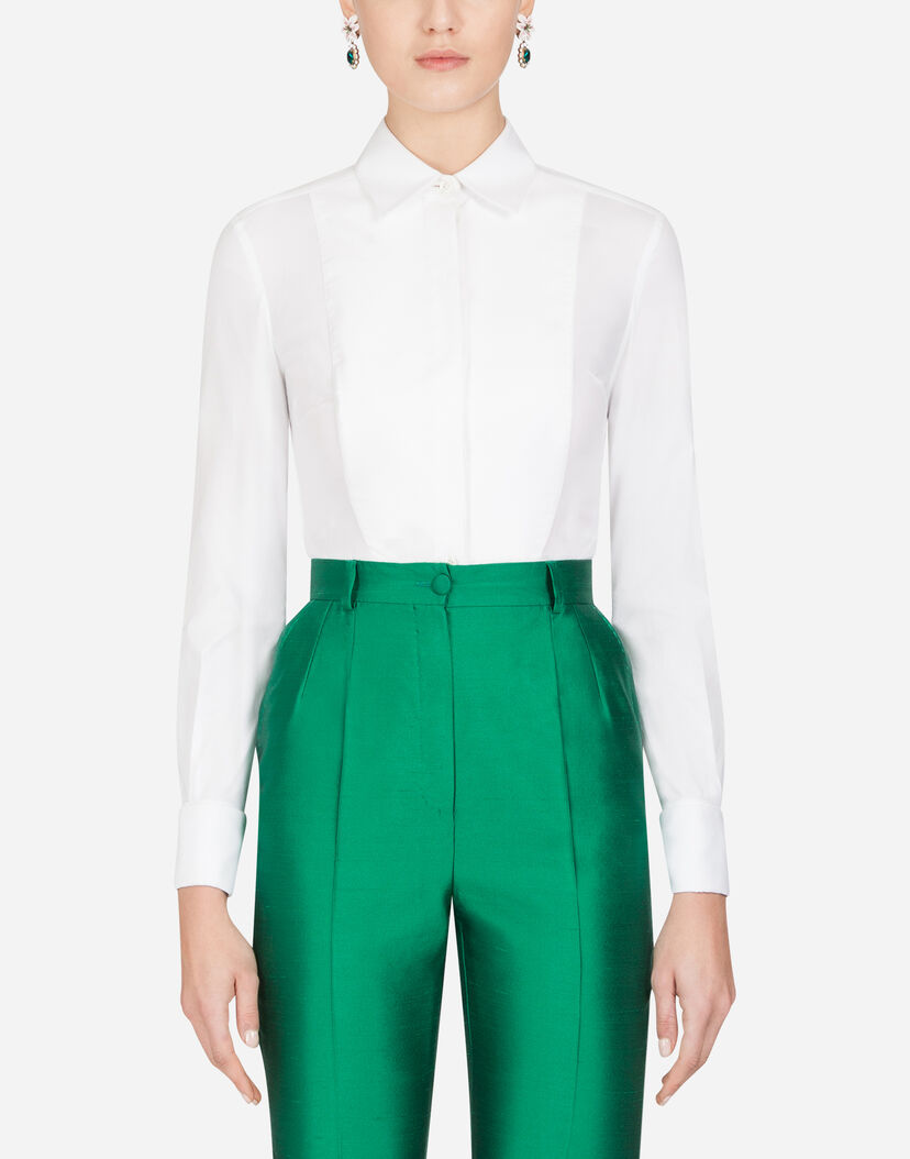 boy size 40 diverse styles Women's Shirts and Tops   Dolce&Gabbana - STRETCH POPLIN TUXEDO SHIRT
