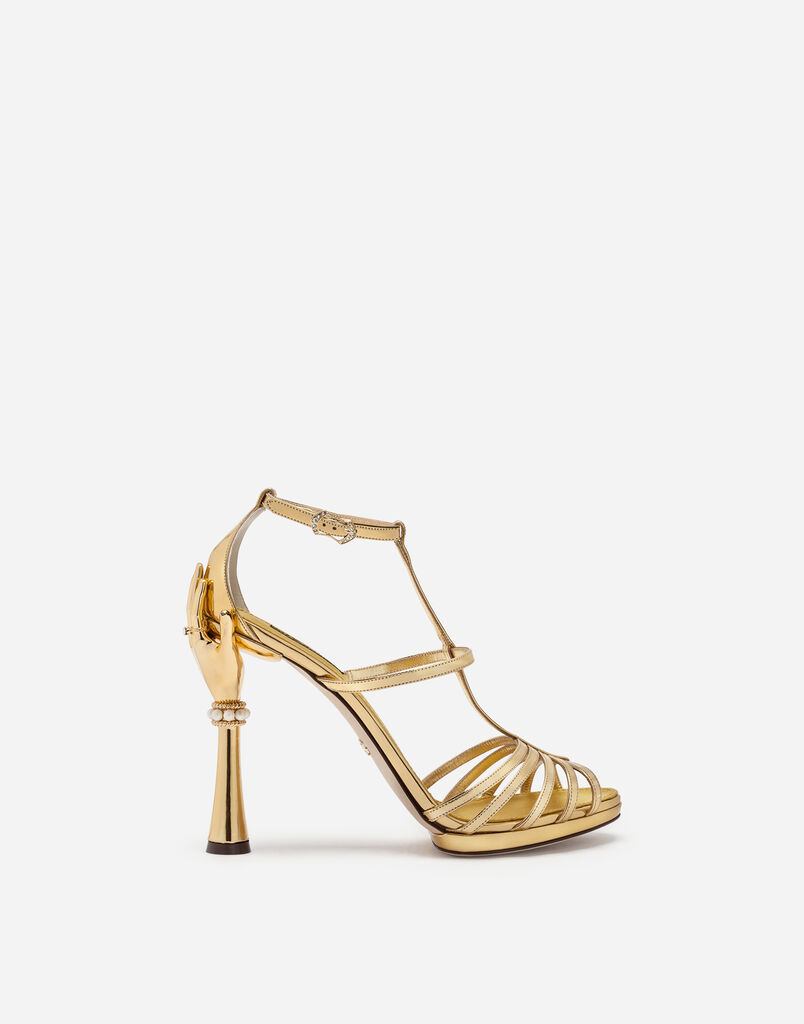 SANDAL IN MIRRORED PATENT LEATHER WITH SCULPTED HEEL