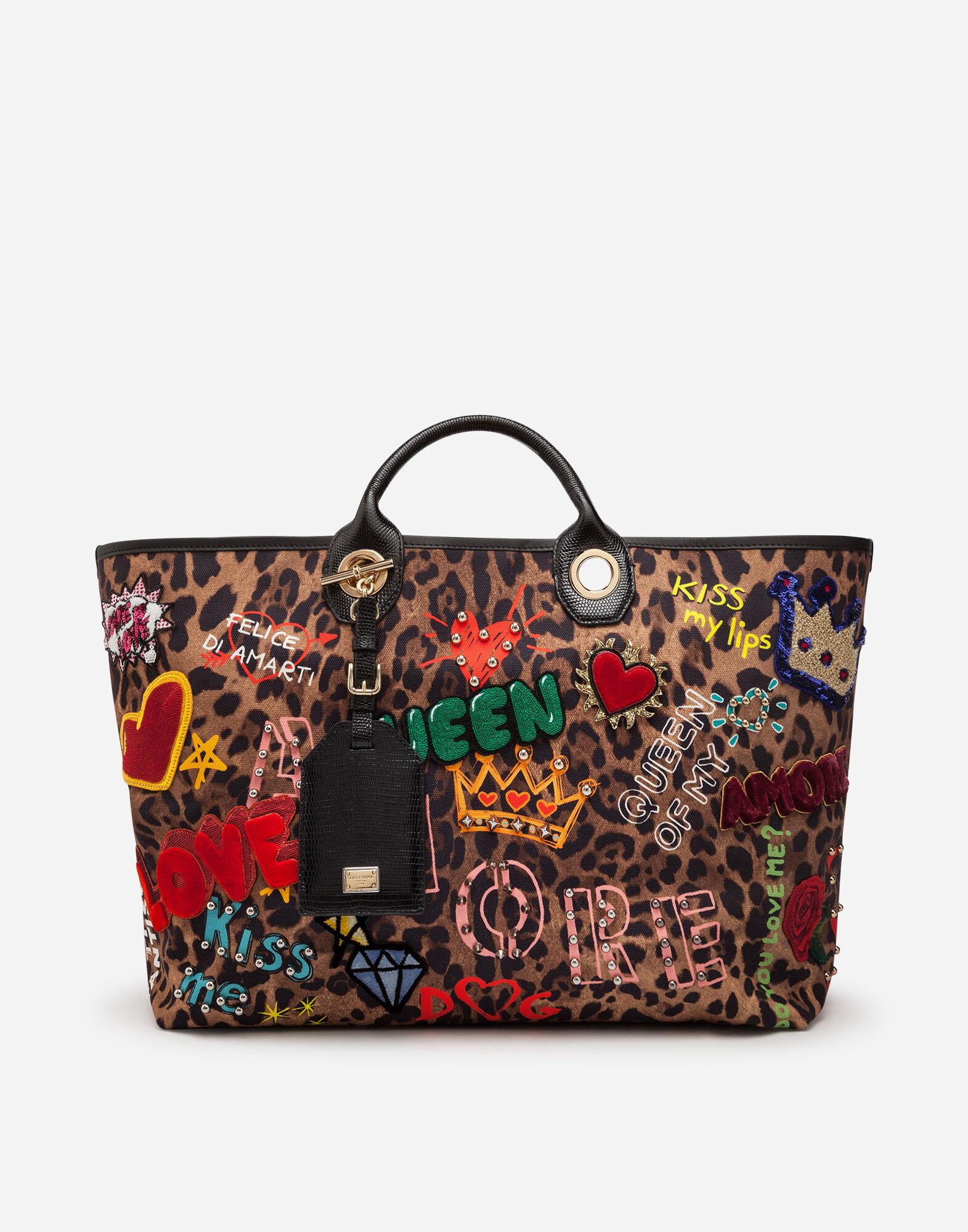 Capri Shopping Bag In Printed Fabric And Patch Applications And Iguana Print Calfskin Trim in Leopard Print