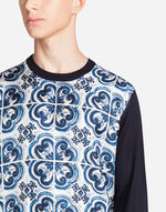 SILK SWEATSHIRT WITH PRINTED PANEL