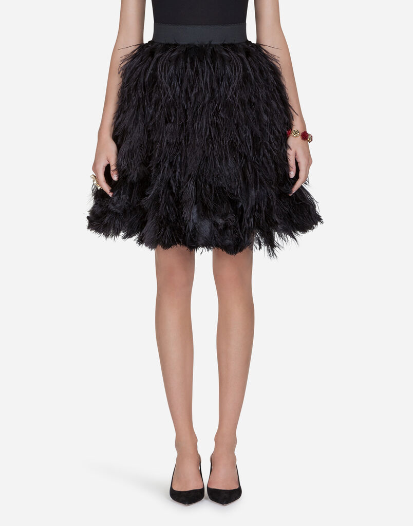 Dolce & Gabbana FLOUNCE SKIRT IN FEATHERS