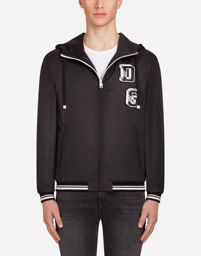 NYLON BOMBER JACKET WITH PATCH AND HOOD