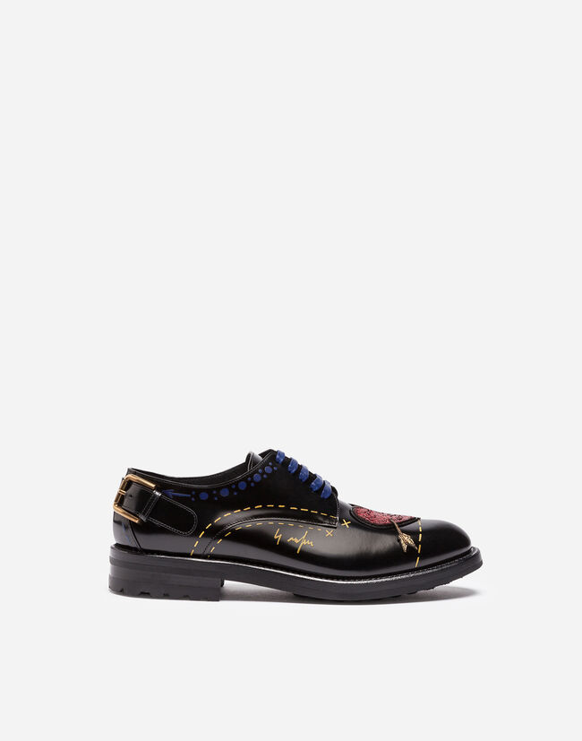 PRINTED LEATHER DERBY SHOES WITH PATCH