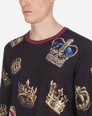 Dolce & Gabbana CREW NECK KNIT IN PRINTED SILK