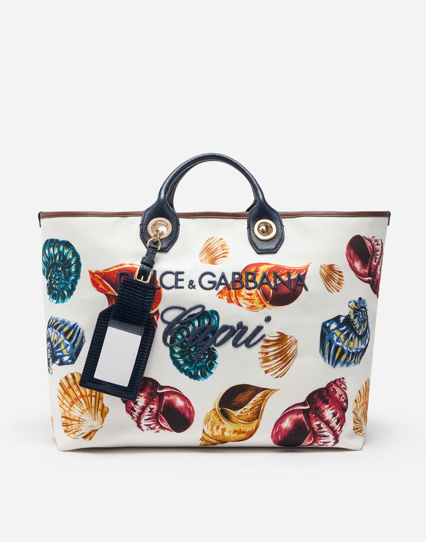 Women's Totes | Dolce&Gabbana - SPECIAL CAPRI CAPSULE COLLECTION SHOPPER  WITH SHELL PRINT