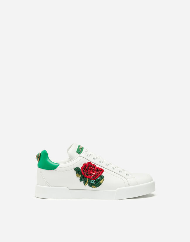 PORTOFINO LEATHER SNEAKERS WITH ROSE PATCH