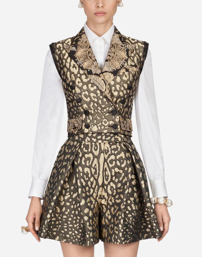 Dolce & Gabbana BLAZER-STYLE VEST IN JACQUARD