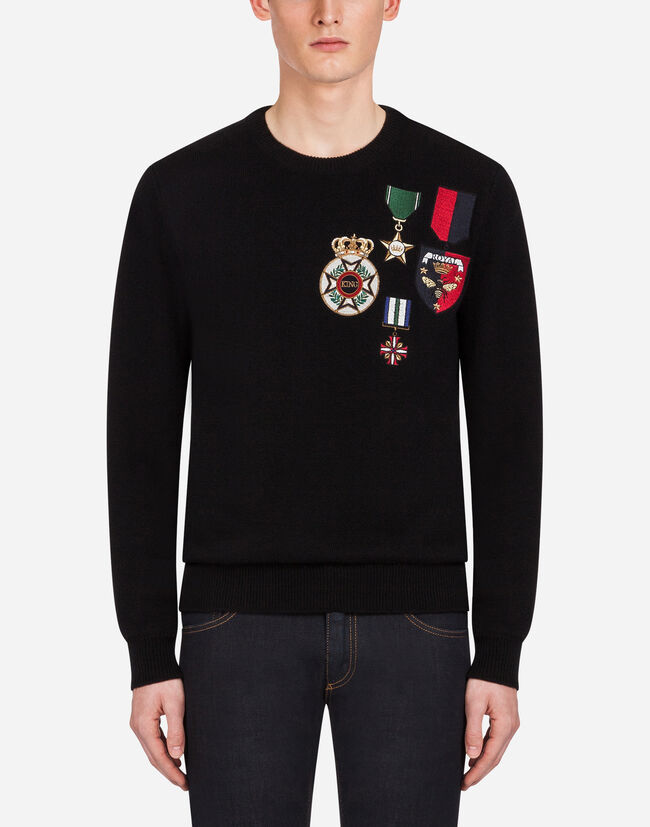 Dolce&Gabbana CREW NECK KNIT IN WOOL WITH EMBROIDERY